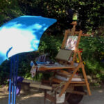 Caroline Johnson en plein air artist mobile easel on wheelbarrow chassis Adelaide Hills Garden