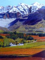 Caroline Johnson Artist Autumn snow Hex River Valley African Wine Lands Oil on Canvas. 915x1200 Beautiful valley of autumn vines and spectacular mountains