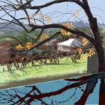 iPad finger painting en plein air Rural Australia