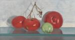 Caroline Johnson Adelaide Hills Artist Still life Last Homegrown tomatoes 9 x 5 inches Homegrown tomatoes on glass shelf