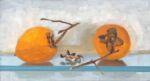 Caroline Johnson Adelaide Hills Artist still life 2020's Last Persimmons 2 Persimmons on glass shelf