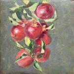 Caroline Johnson still life en plein air Adelaide Hills apples 8 apples on apple tree branch oil on arches 20 x 20