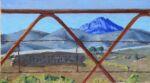 Caroline Johnson Flinders Ranges Artist Beyond Oratunga patawarta South Gate rusty gate mountain Oil on board 9 x 5 inches