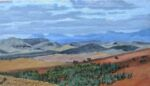 Caroline Johnson Flinders Ranges Artist Beyond Oratunga Wall of China Wilpena Pound mountains 9 x 5 inches