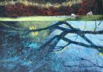 Caroline Johnson artist Oil on Board 270 x 335 Infinity edge pool Sheep in paddock