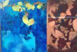 Caroline Johnson Artist Elm Ginko Conversation Oil on acrylic on marine ply Framed 270 x 230