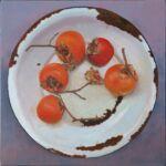 Caroline Johnson Adelaide Hills Artist Five Persimmons in Enamelware Oil on Canvas 40 x 40 cm
