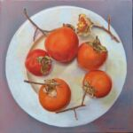 Caroline Johnson Adelaide Hills Artist Five Persimmons on China Oil on Canvas 40 x 40