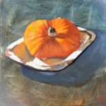 Caroline Johnson Adelaide Hills Artist Nugget pumpkin in enamelware dish Oil on Arches for Huile Paper 19x19cm