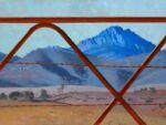 Caroline Johnson Artist Patawarta-Afternoon Light Oratunga Oil on board 760 x 1010 view of Mount Patawarta Flinders ranges through gate