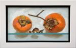 Caroline Johnson Adelaide Hills Artist Persimmon Pair Oil on Board 9 x 5 inch two persimmons on glass shelf