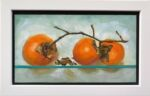 Caroline Johnson Adelaide Hills Artist Three Persimmons on Glass shelf oil on board 9 x 5 inch