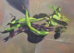 Caroline Johnson Adelaide Hills Artist Season's Last Beans Oil on Board 29 x 21 cm Green Beans fresh picked the garden