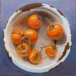 Caroline Johnson Adelaide Hills Artist Seven Persimmons in Enamelware Oil on Canvas 40 x 40cm