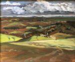Caroline Johnson Adelaide Hills Art en plein air Adelaide Hills Heysen Trail art Oil on canvas 24 x 29 View from Bridgewater