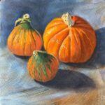 Caroline Johnson Artist Oil on Arches Three Nugget pumpkins still life 19 x 19 cm Adelaide Hills Art