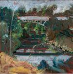 Caroline Johnson en plein air artist Oil on Arches 20 x 20 Oil on Arches Torrens River Princes Hwy under Mount Lofty