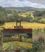 Caroline Johnson Adelaide Hills en plein air artist Adelaide Hills wineries Oil on Board Autumn leaves vines Mount Lofty