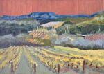 Caroline Johnson en plein air artist Oil on Arches When the vines go yellow vineyards under Mount Lofty