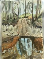 Caroline Johnson En plein Air Adelaide Hills Painting site Under Mount Lofty Creek crossing Where they pan for gold Oil on Arches 21 x 29