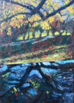 Caroline Johnson Artist Autumn Horizons Oil on acrylic on marine ply Framed dimension 270 x 230