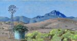 Caroline Johnson Flinders Ranges Artist Beyond Oratunga patawarta and Southern Cross Windmill watertank mountain 9 x 5 inches
