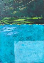 Caroline Johnson Artist Leaves of the Horizon Oil on acrylic on marine ply Framed dimension 335 x 270 leaves on horizon edge pool