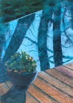 Caroline Johnson Artist Garden Horizons Oil on acrylic on marine ply Framed dimension 100 x 150 succulent-pot-plant-horizon-pool