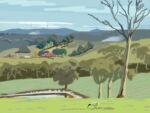 Caroline Johnson Artist Adelaide Hills Under Mount Lofty Australian Ibis digital painting view of Mount Lofty from Glen Bold Road