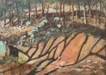 Caroline Johnson Flinders Ranges Artist Where Shadows play in dry creek Oratunga Station Flinders Ranges oil on marine ply 19.5 x 27.5